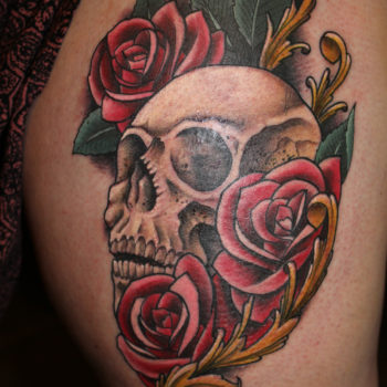 Skull and Roses Tattoo by George Brown